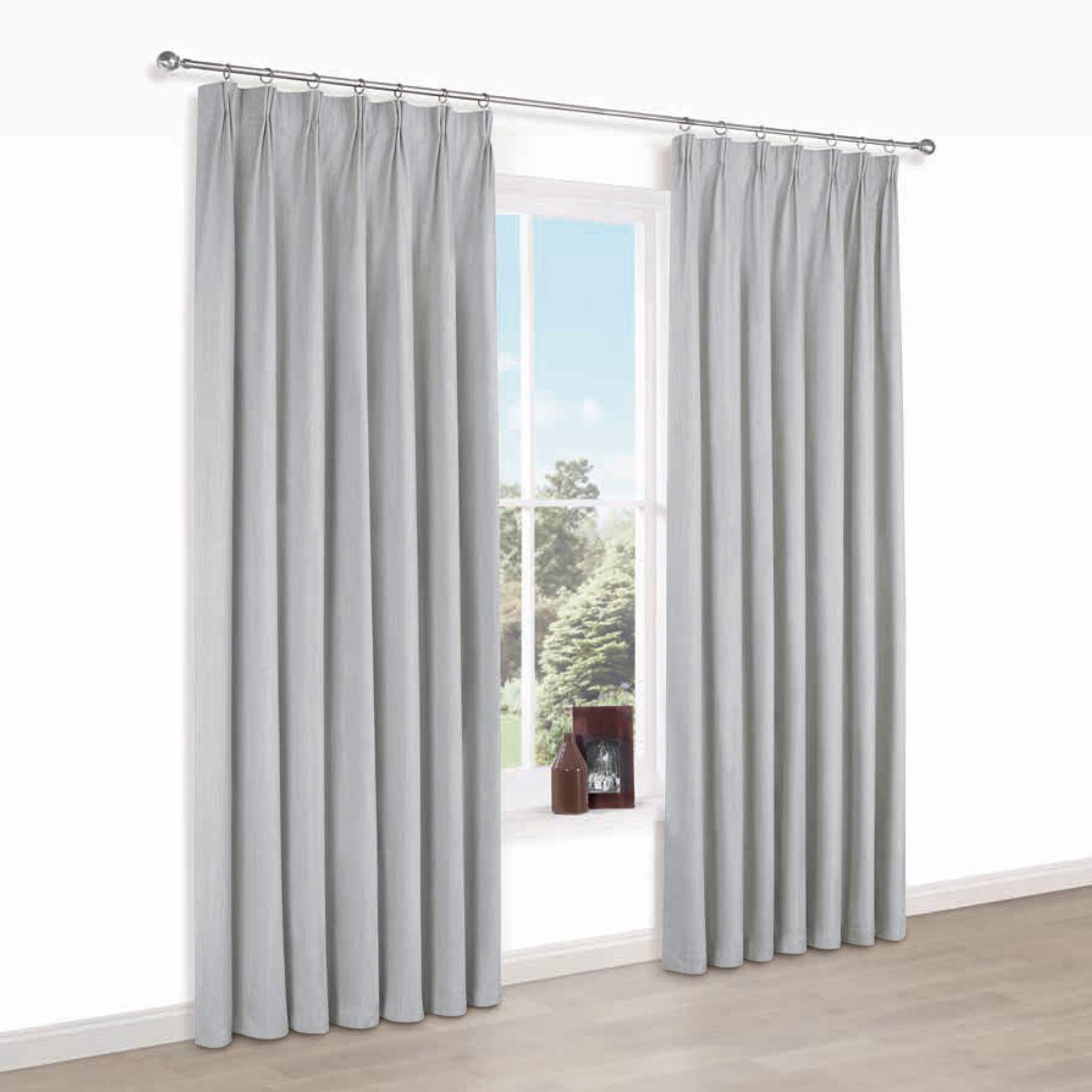 Elva Grey Plain Blackout Pencil Pleat Blackout Curtains (w)117 Cm (l)137 Cm