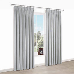 Elva Grey Plain Blackout Pencil Pleat Blackout Curtains