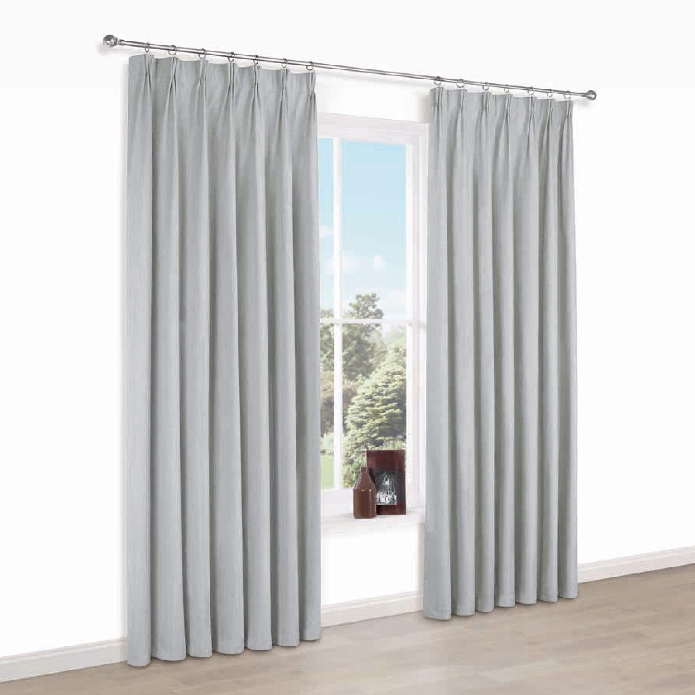 Elva Grey Plain Blackout Pencil Pleat Blackout Curtains (w)167 Cm (l)228 Cm