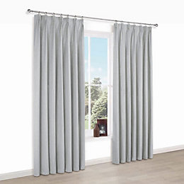 Elva Grey Plain Blackout Pencil Pleat Curtains (W)167cm