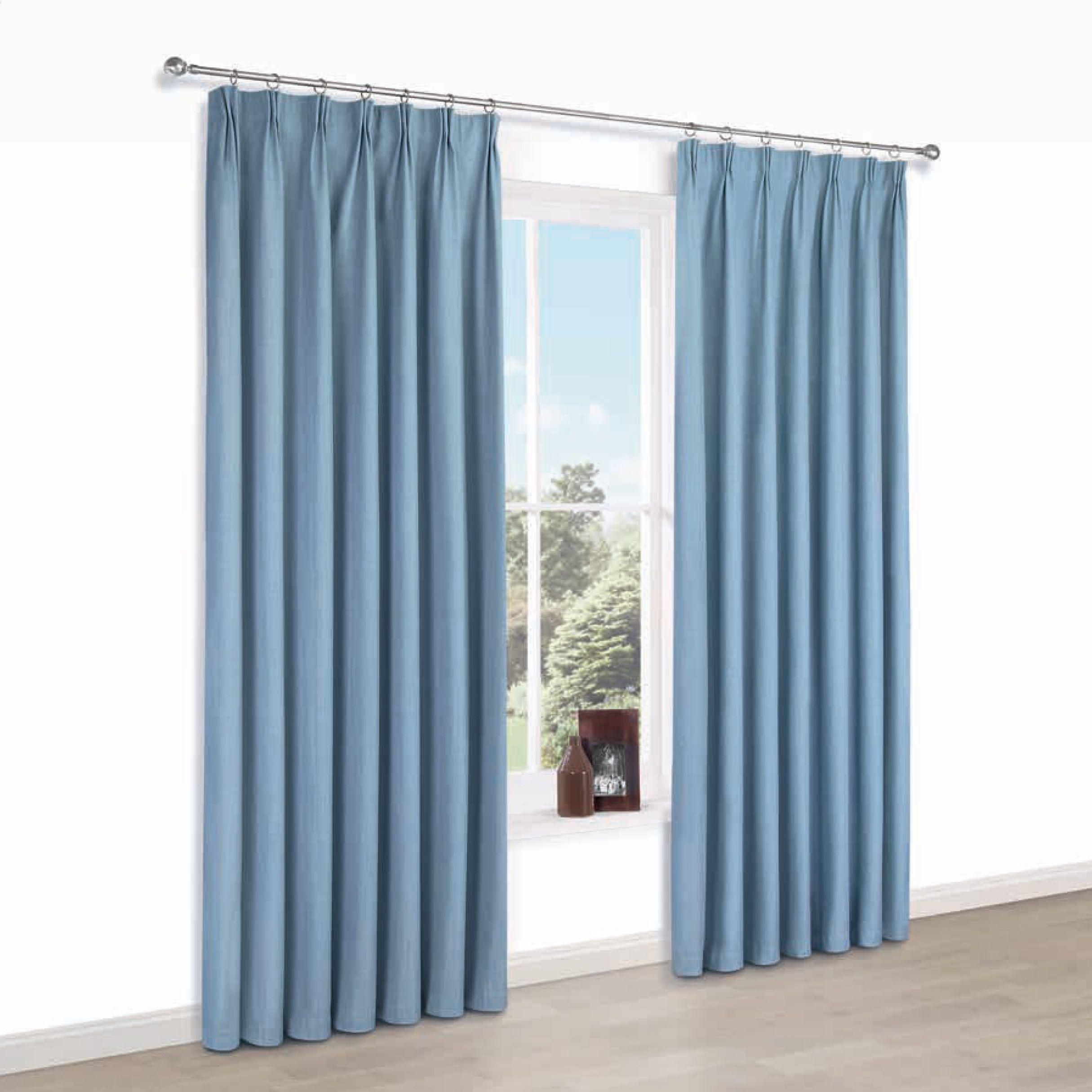 Elva Blue Plain Blackout Pencil Pleat Blackout Curtains (w)167 Cm (l)228 Cm