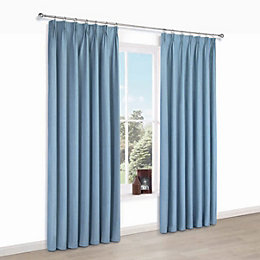 Elva Blue Plain Blackout Pencil Pleat Curtains (W)228cm