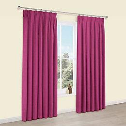 Elva Fuchsia Plain Blackout Pencil Pleat Curtains (W)228cm