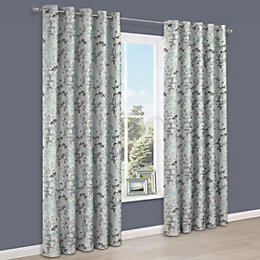 Evania Duck Egg Floral Jacquard Eyelet Lined Curtains