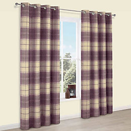 Esmeralda Purple Check Thermal Eyelet Lined Curtains (W)228cm