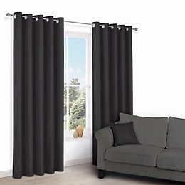 Zen Black Plain Eyelet Curtains (W)167cm (L)183cm