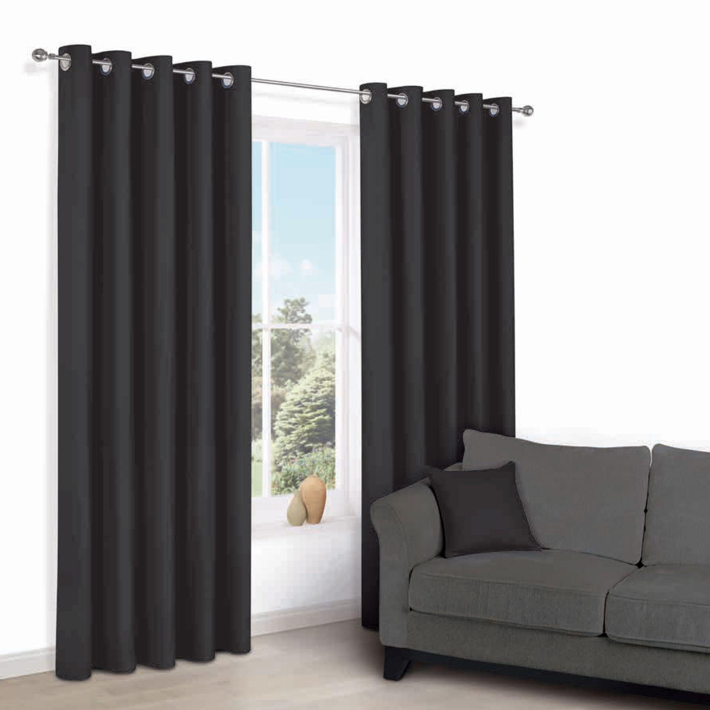 Zen Black Plain Eyelet Curtains (w)167 Cm (l)228 Cm