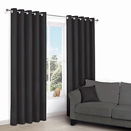 Zen Black Plain Eyelet Curtains (W)167 cm (L)228