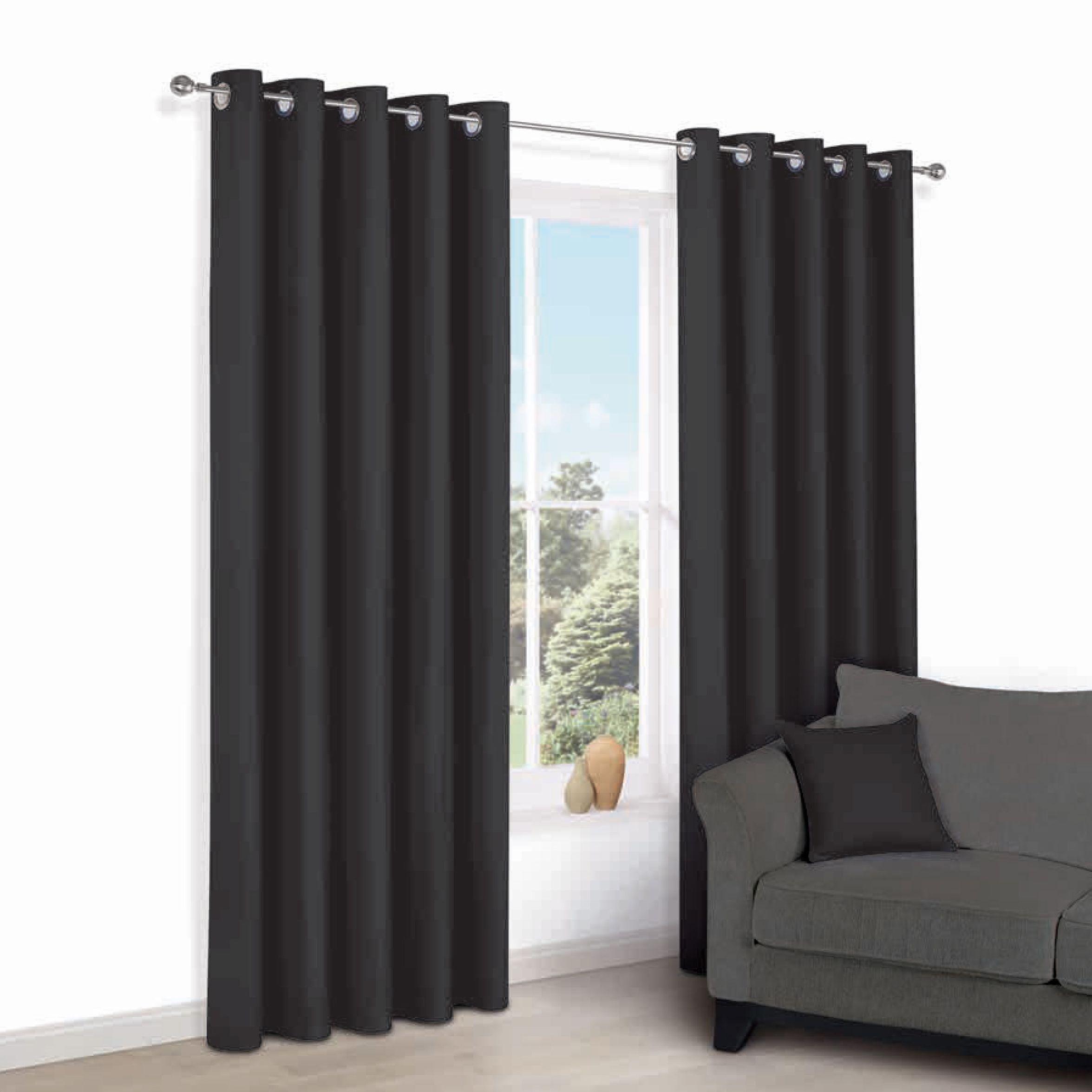Zen Black Plain Eyelet Curtains (w)228 Cm (l)228 Cm