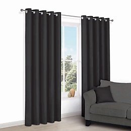 Zen Black Plain Eyelet Curtains (W)228cm (L)228cm