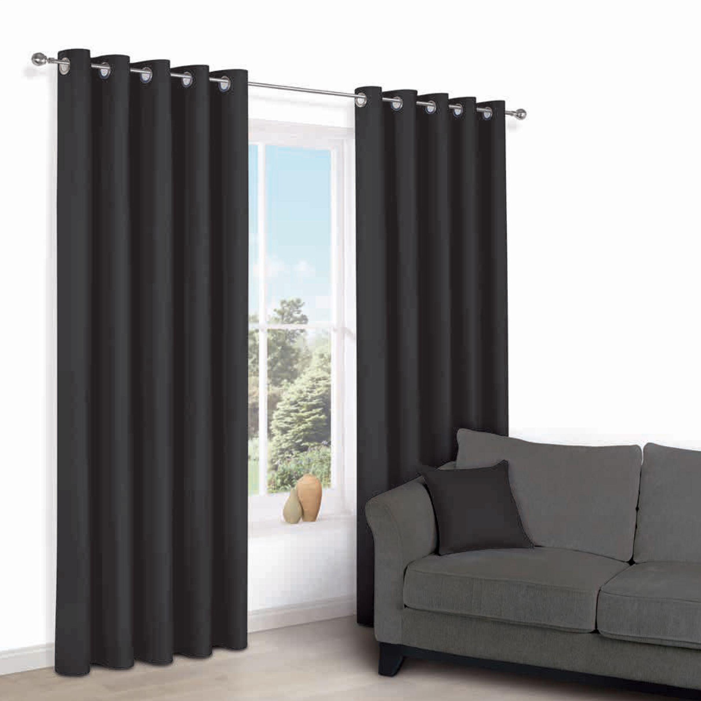 Zen Black Plain Eyelet Curtains W 117cm L 137cm Departments DIY At B Q