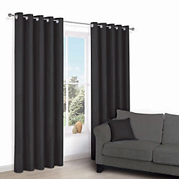 Zen Black Plain Eyelet Curtains (W)117 cm (L)137