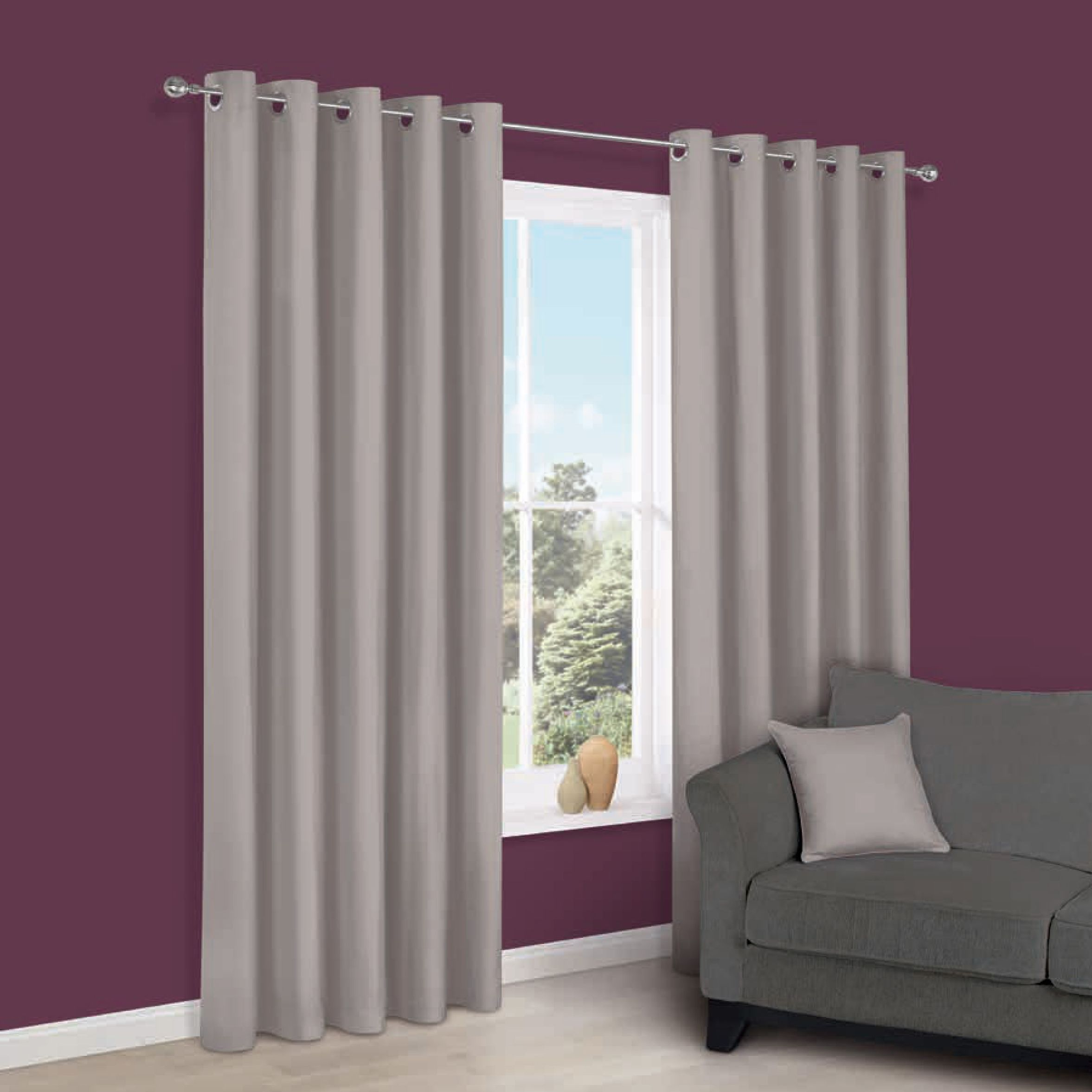 Zen Serenity Plain Eyelet Curtains (w)228 Cm (l)228 Cm