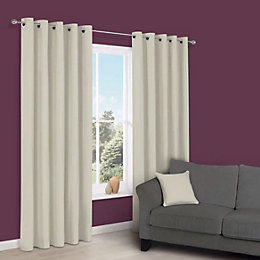 Zen Limestone Plain Eyelet Curtains (W)167cm (L)228cm