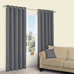 Zen Anthracite Plain Eyelet Curtains (W)117 cm (L)137