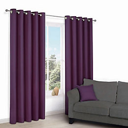 Zen Purple Plain Eyelet Curtains (W)167cm (L)183cm