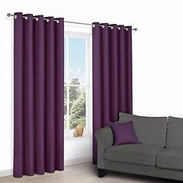 Zen Purple Plain Eyelet Curtains (W)167cm (L)228cm