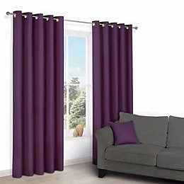Zen Purple Plain Eyelet Curtains (W)228cm (L)228cm