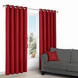 Zen Flame Plain Eyelet Curtains (W)167 cm (L)228