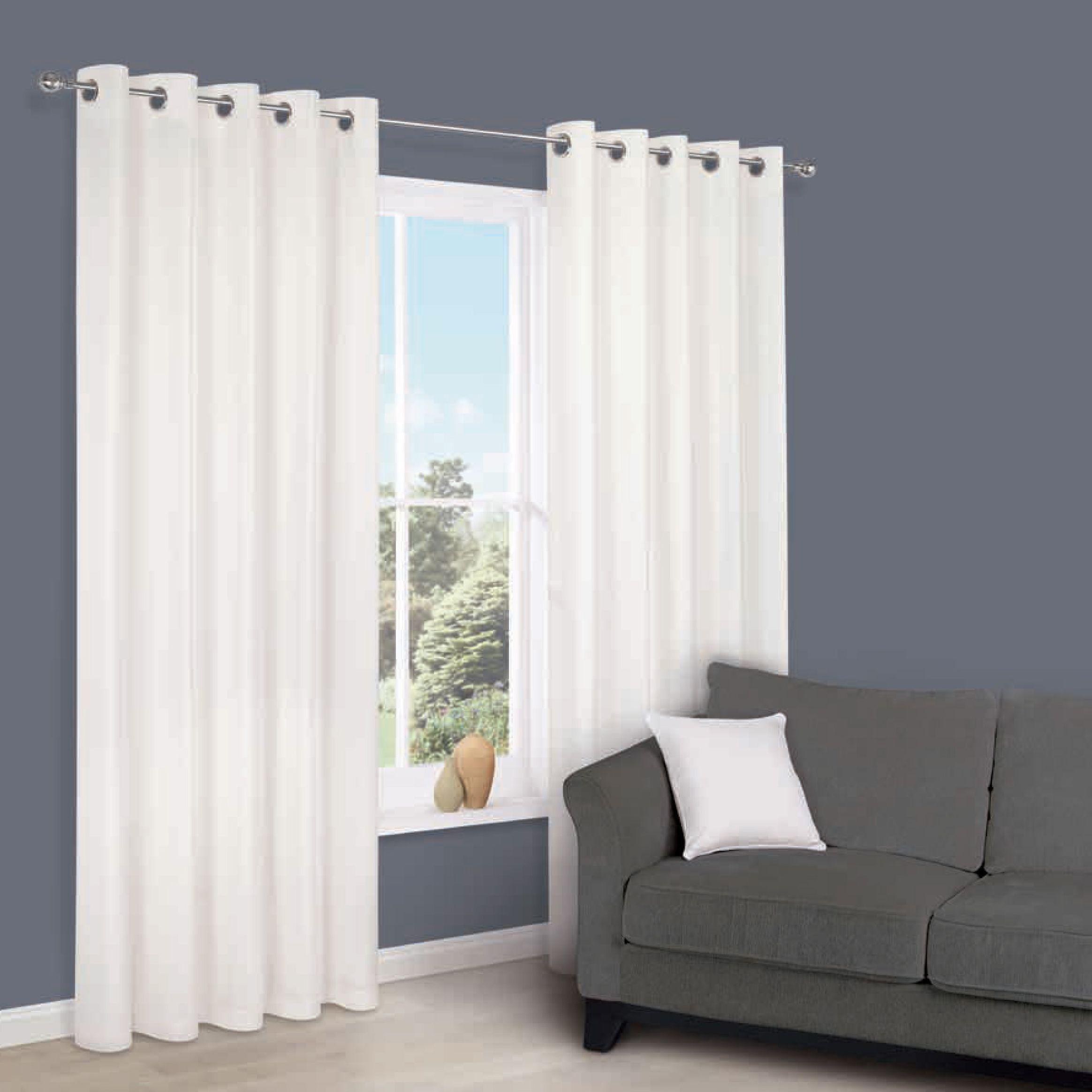 Zen White Plain Eyelet Curtains (w)167 Cm (l)228 Cm
