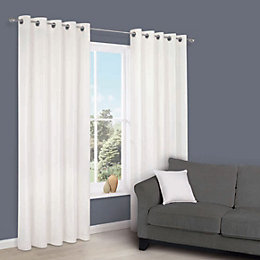 Zen White Plain Eyelet Curtains (W)167cm (L)183cm