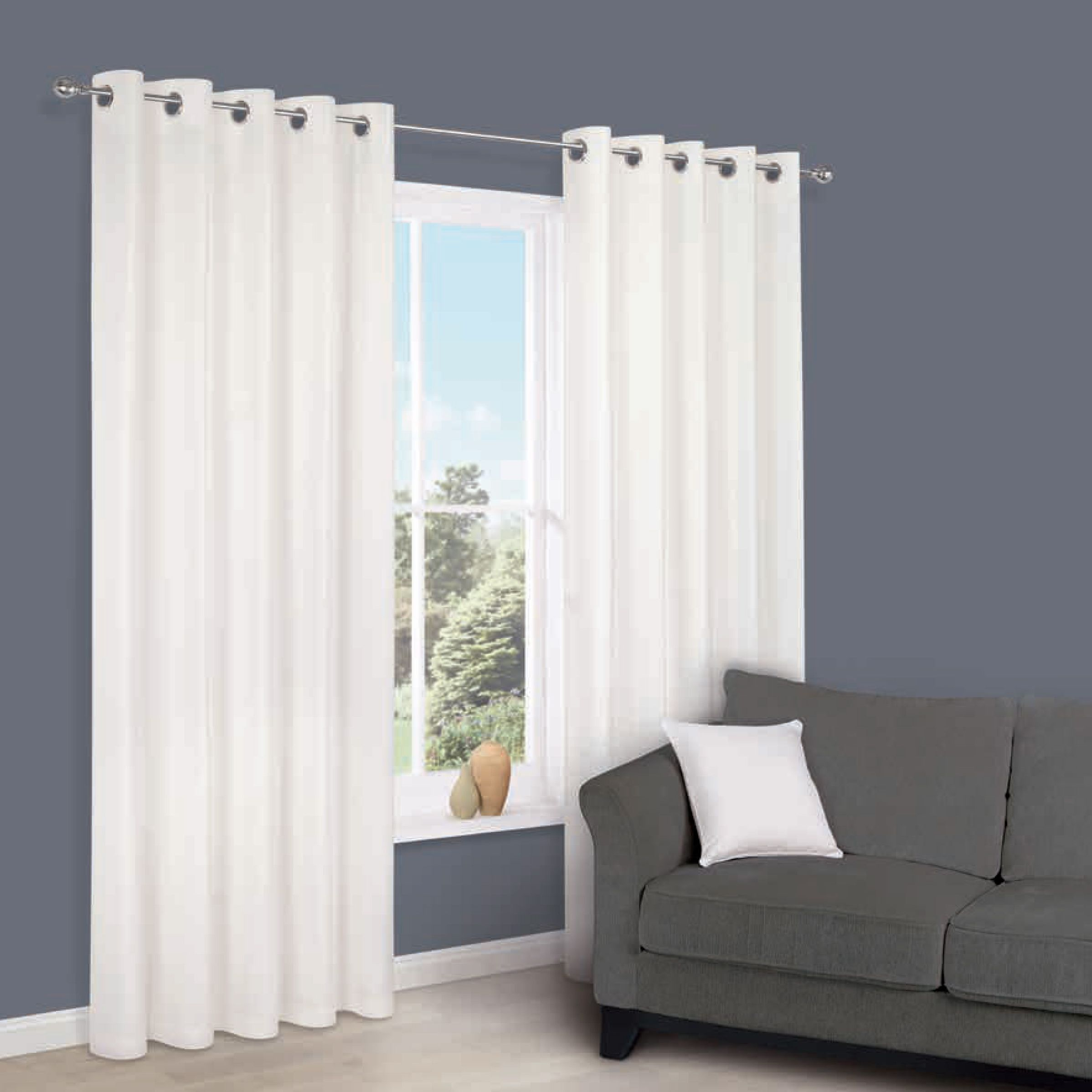 Zen White Plain Eyelet Curtains (w)117 Cm (l)137 Cm