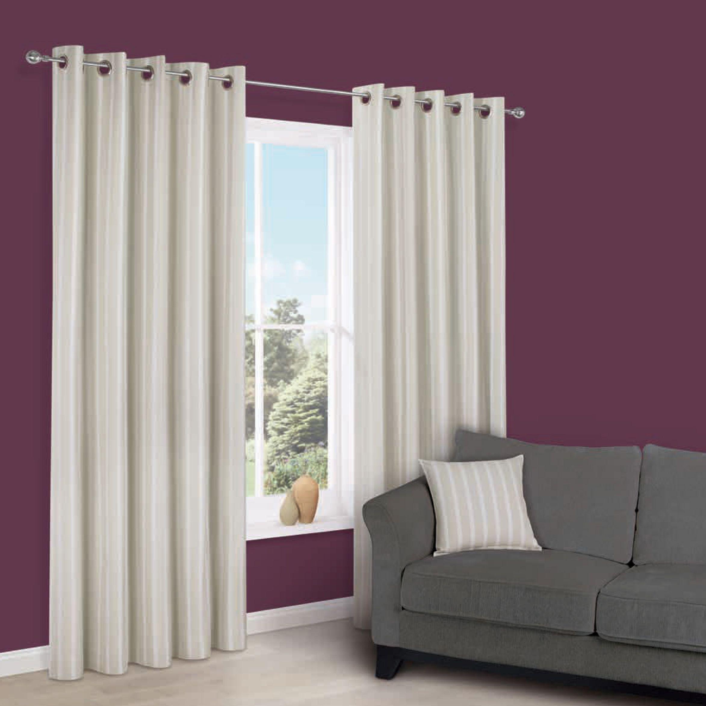 Cherelle Limestone Stripe Eyelet Lined Curtains (w)117 Cm (l)137 Cm