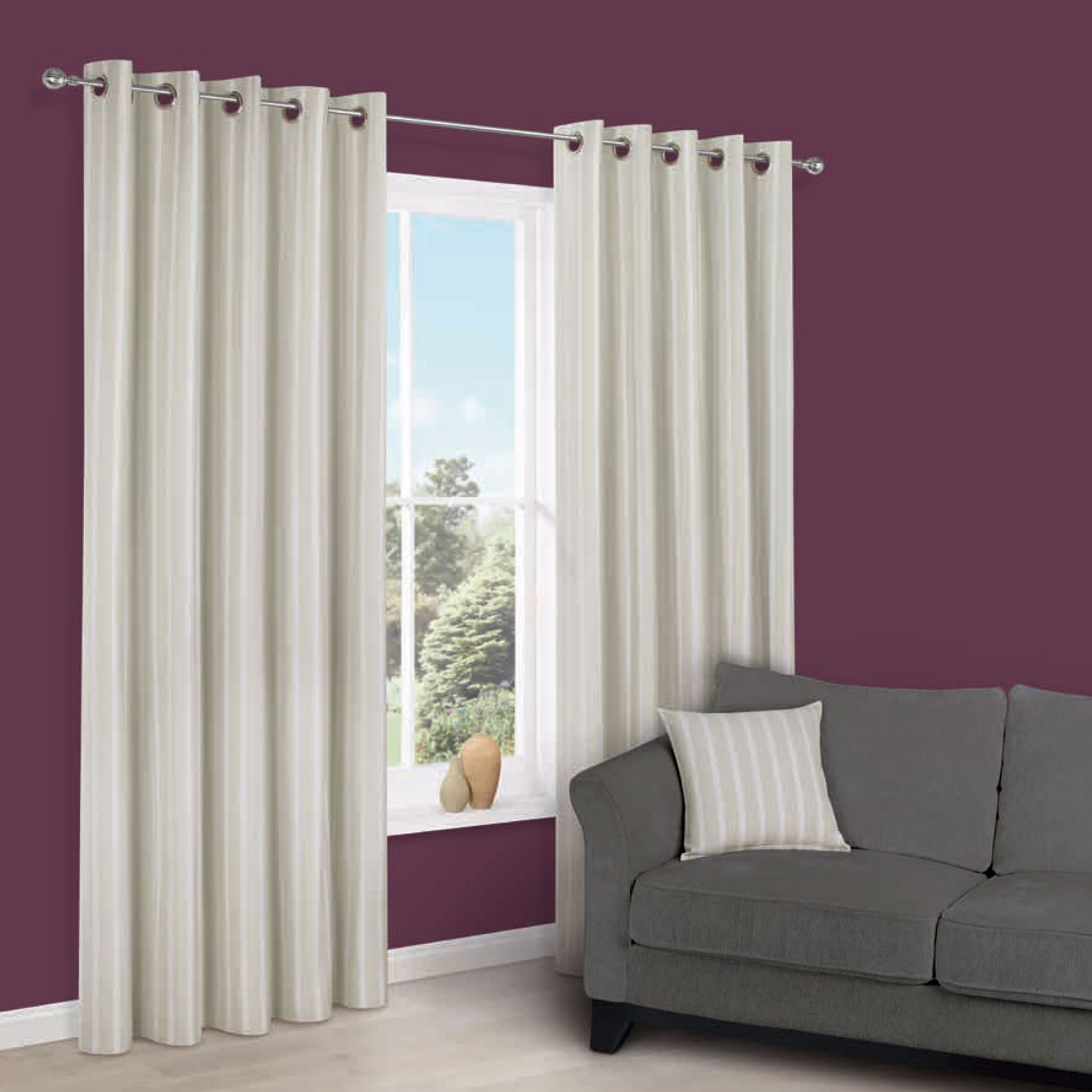 Cherelle Limestone Stripe Eyelet Lined Curtains (w)167 Cm (l)167 Cm