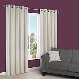 Cherelle Limestone Stripe Eyelet Lined Curtains (W)167cm (L)228cm