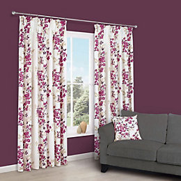 Deysi Pink Floral Pencil Pleat Lined Curtains (W)117cm