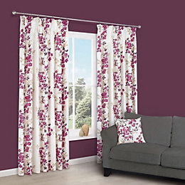 Deysi Pink Floral Pencil Pleat Lined Curtains (W)228cm