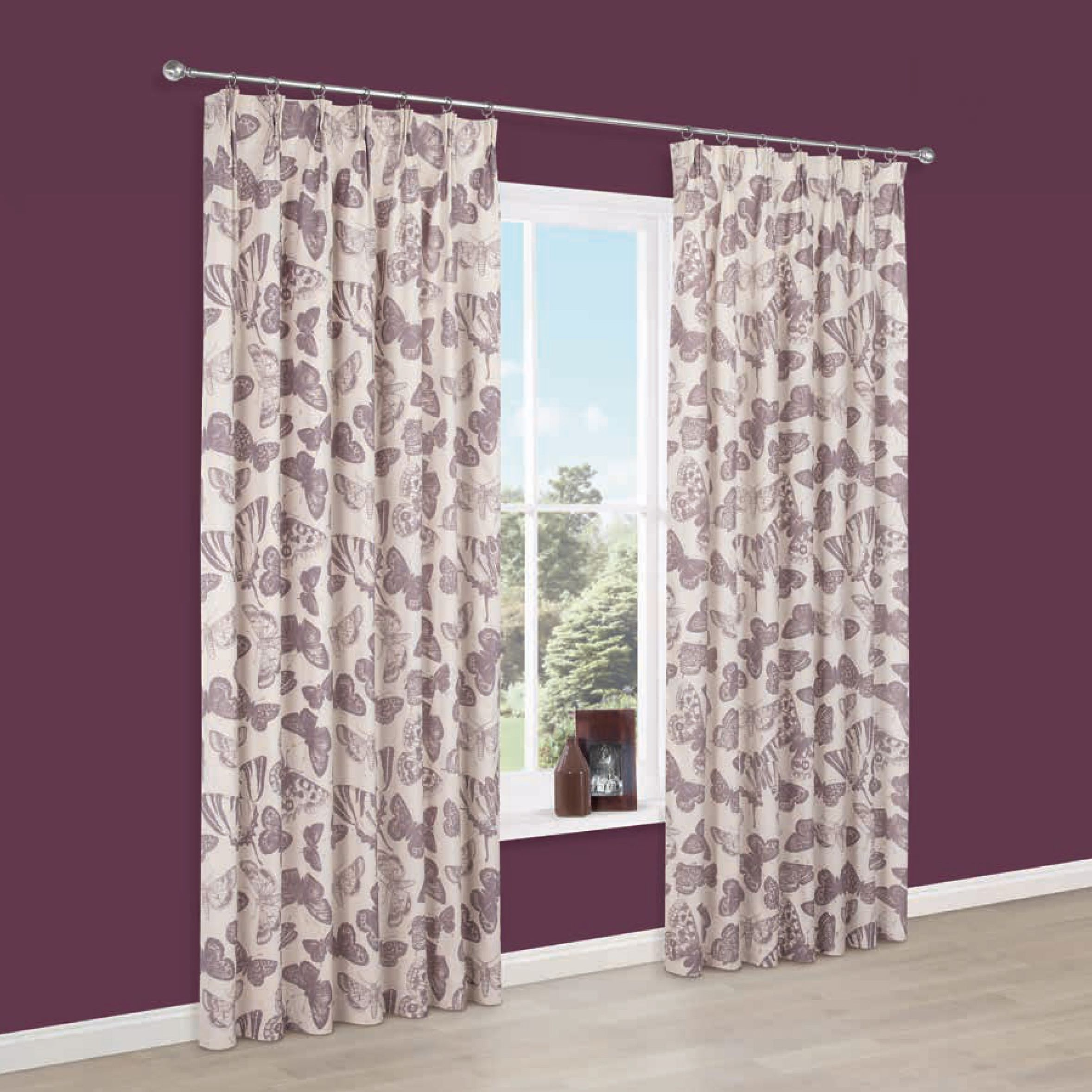 Dustine Cream Purple Butterfly Pencil Pleat Lined Curtains W117 Cm L