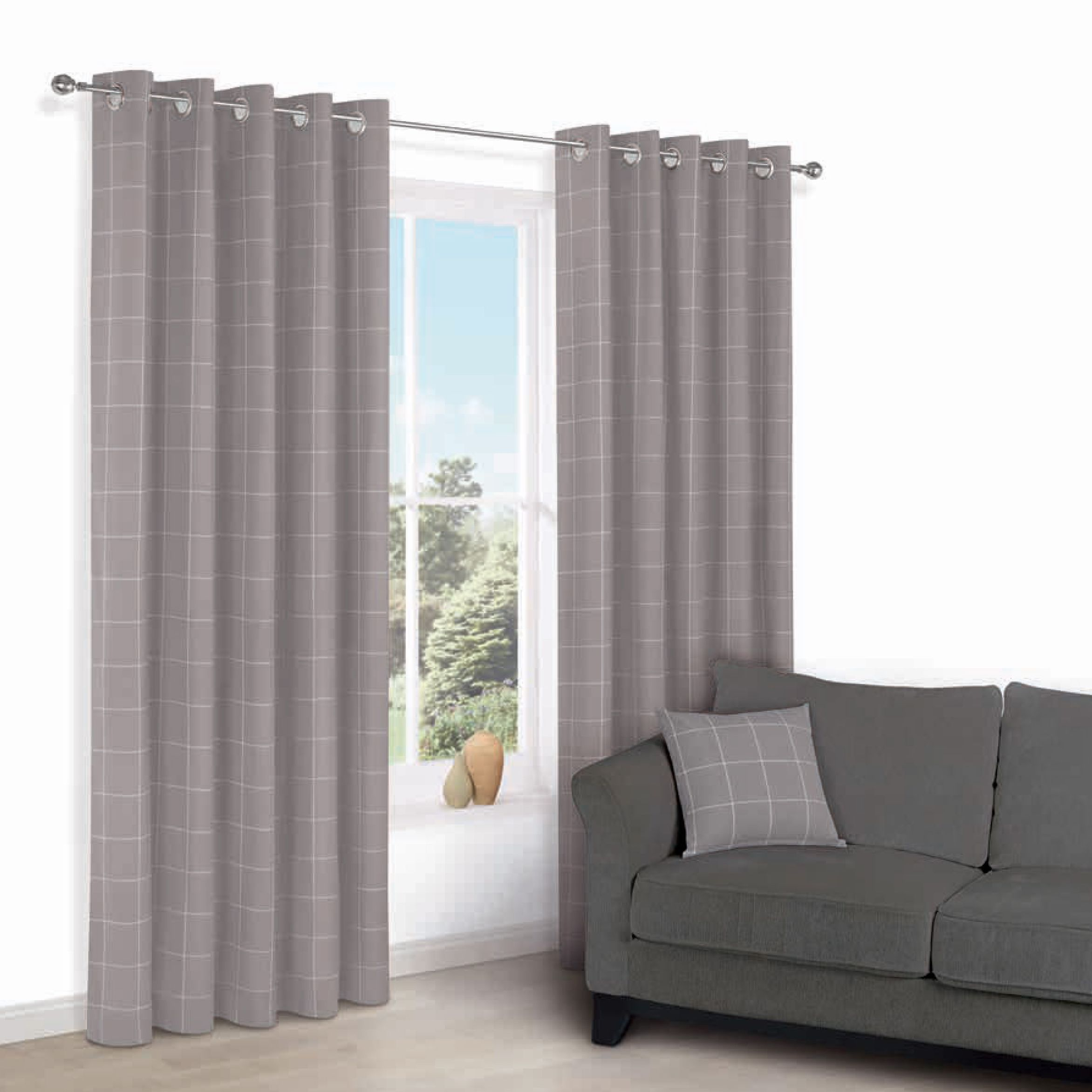 Carlena Brown Cream Check Eyelet Lined Curtains W 167