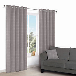 Carlena Brown & Cream Check Eyelet Lined Curtains