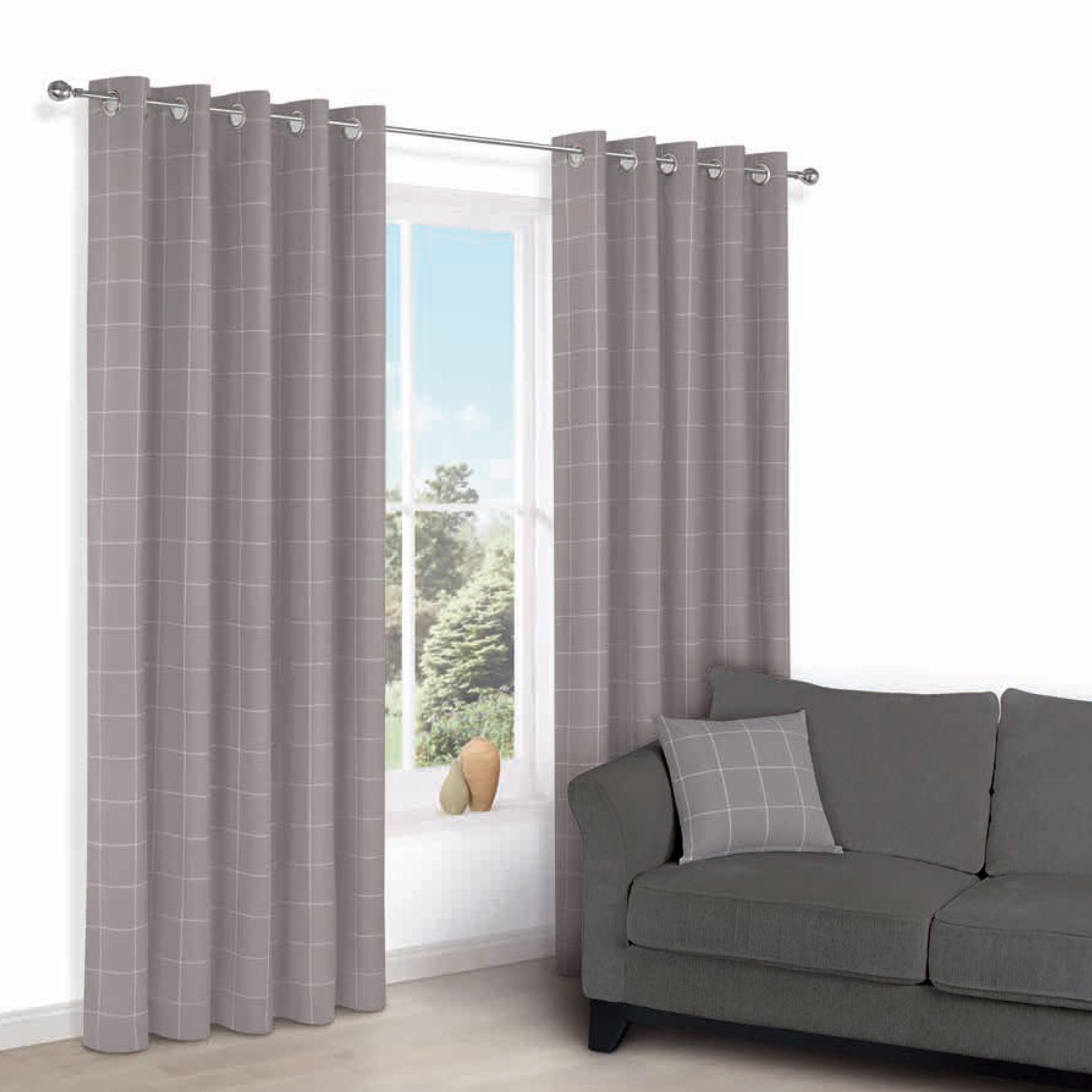 Carlena Brown Cream Check Eyelet Lined Curtains W 228