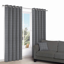 Carlena Grey Check Eyelet Lined Curtains (W)117 cm