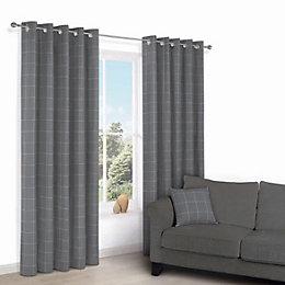 Carlena Grey Check Eyelet Lined Curtains (W)117cm (L)137cm