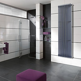 Edmonton Vertical Radiator Grey Powder Coated, (H)1800 mm