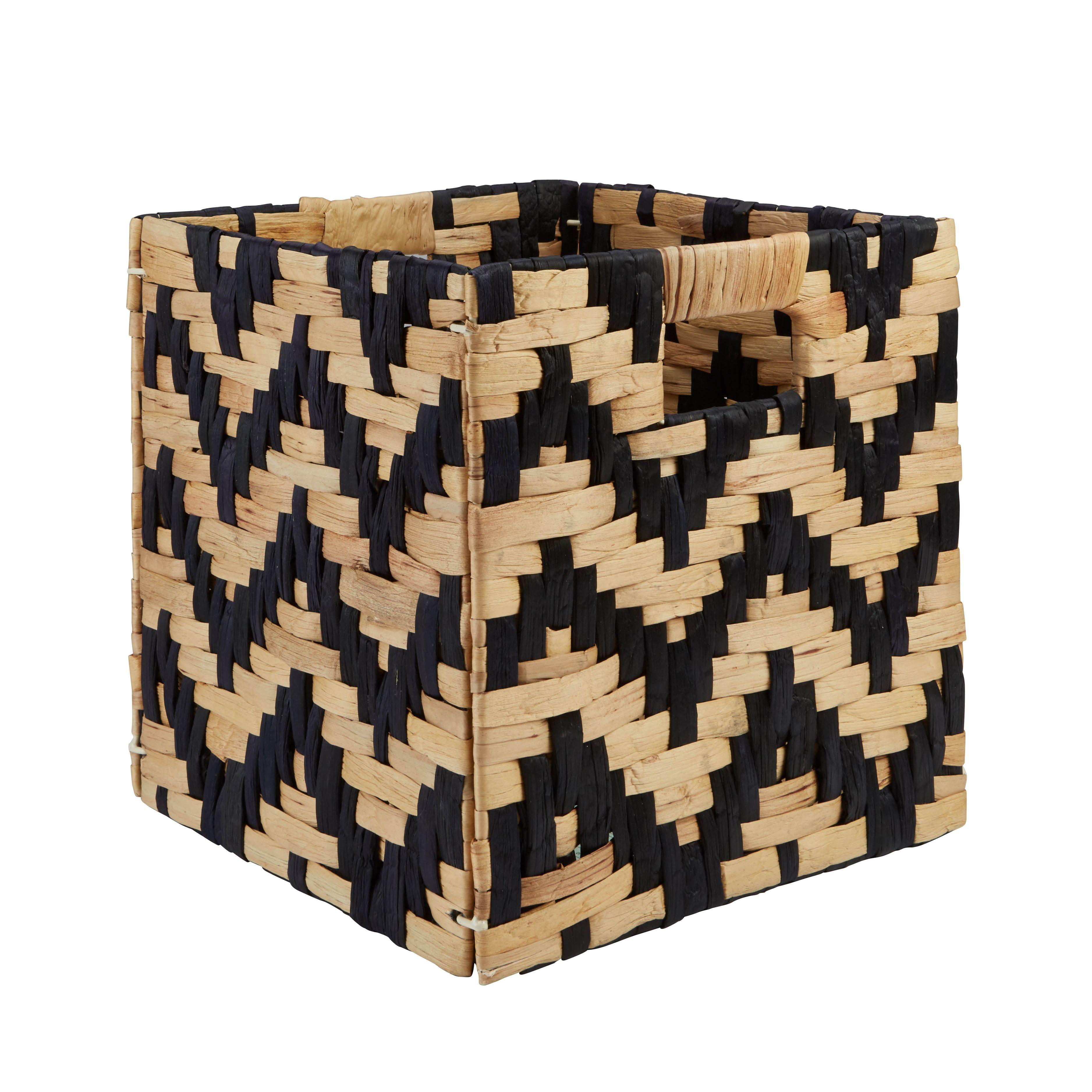 Mixxit Natural & Black Chevron Storage Cube Basket (w)310mm (l)310 Mm