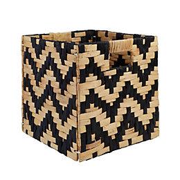 Mixxit Natural & Black Chevron Storage Cube Basket