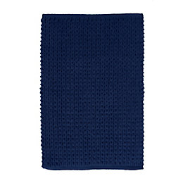 Nevis Navy Knitted Cotton Bath Mat (L)80cm (W)500mm