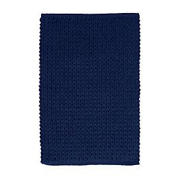 Nevis Navy Knitted Cotton Bath Mat (L)80cm (W)50cm