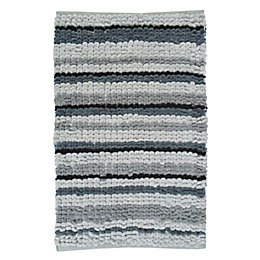 Padstow Grey Chenille Stripe Cotton Non-Slip Bath Mat
