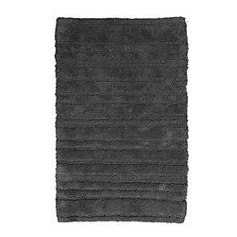 Newlyn Grey Striped Cotton Non-Slip Bath Mat (L)80cm