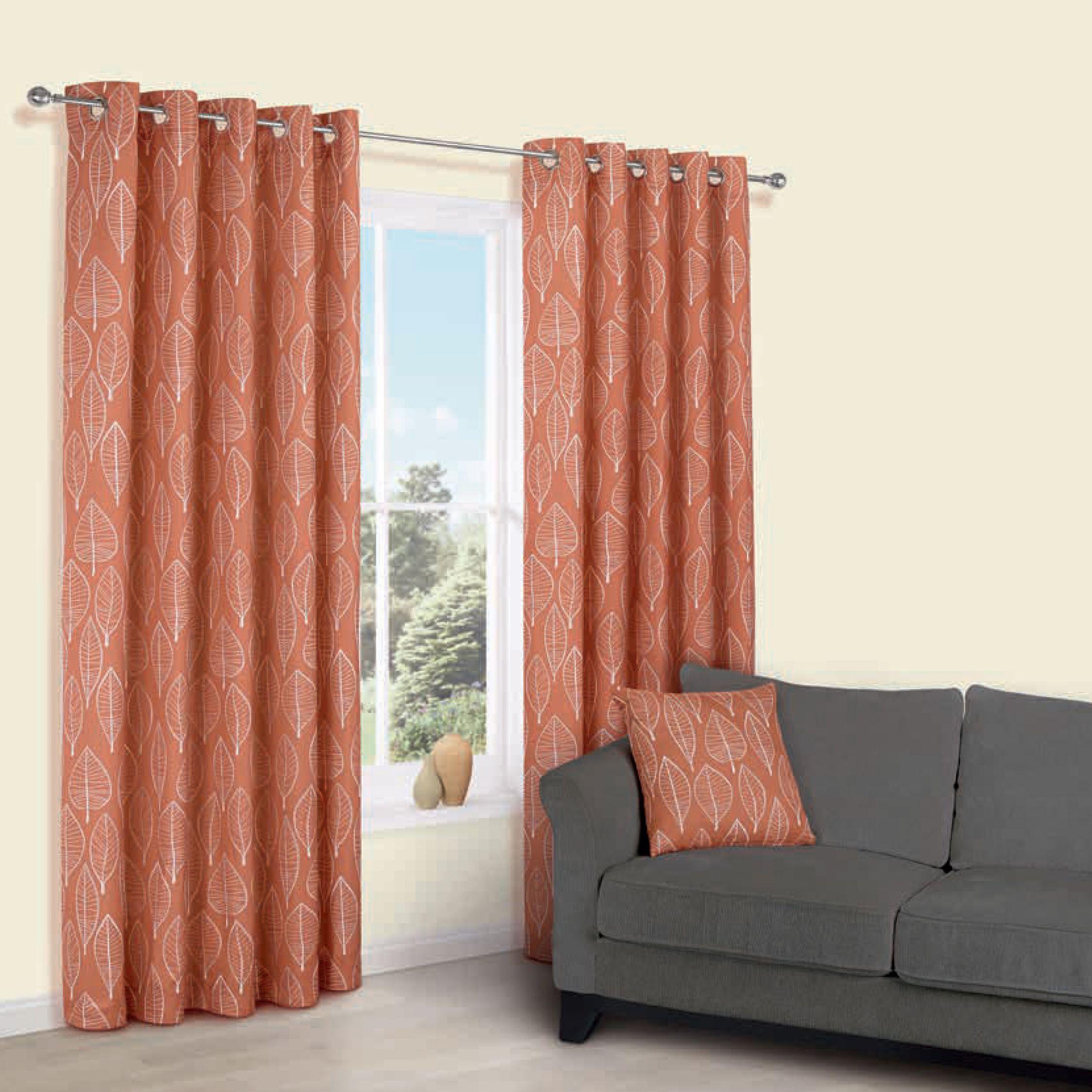 Carminda Orange Leaves Print Eyelet Lined Curtains W117 Cm L137