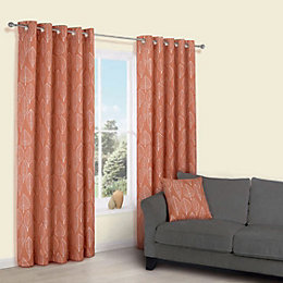 Carminda Orange Leaves Print Eyelet Lined Curtains (W)167cm