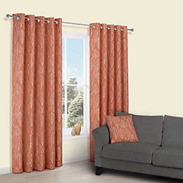 Carminda Orange Leaves Print Eyelet Lined Curtains (W)228cm