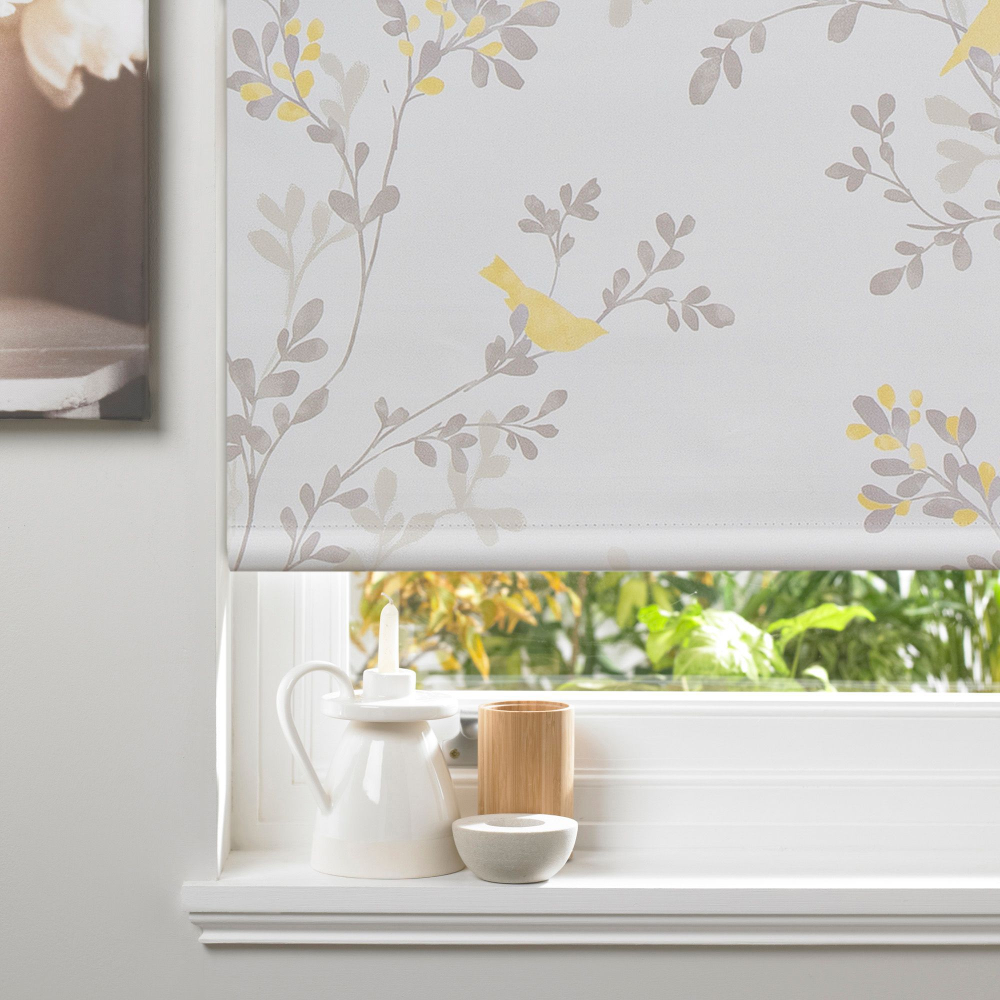 Colours Ashlin Corded White Amp Yellow Blackout Roller Blind
