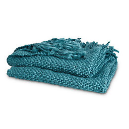 Jaide Teal Plain Knit Throw
