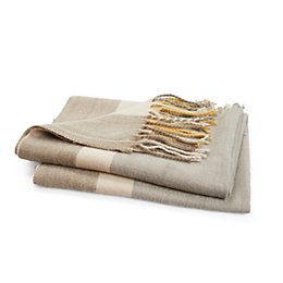 Rayna Grey & Mustard Yellow Stripe Woven Throw